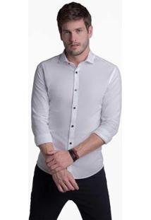 Camisa Buckman Casual Masculina - Masculino-Branco