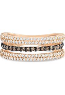 Anel Ouro Rosã© Diamantes E Diamantes Brown