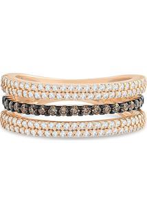 Anel Ouro Rosé Diamantes E Diamantes Brown