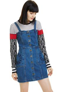 Vestido Salopete Jeans Desigual Curto Botões Azul - Kanui