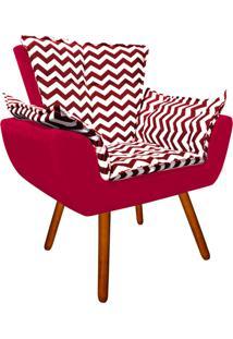 Poltrona Decorativa Opala Suede Composê Estampado Zig Zag Vermelho D79 E Suede Vermelho - D'Rossi