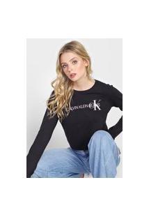 Camiseta Cropped Calvin Klein Jeans Logo Preta