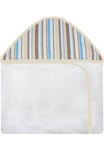 Toalha De Banho C/ Capuz Estampado Laura Baby Transporte Listrado