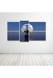 Quadro Decorativo - Ship Boat Moon - Composto De 5 Quadros - Multicolorido - Dafiti