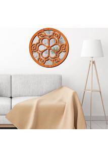 Escultura De Parede Wevans Mandala Beautiful, Madeira + Espelho Decorativo -