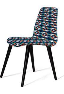 Cadeira Estofada Jacob Estampa Geo Gre Pes Palito Preto - 49531 - Sun House