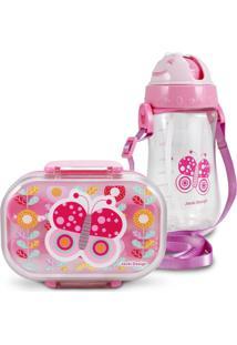 Conjunto Pote Para Lanche E Squeeze Infantil Borboleta Menina Jacki Design Pequeninos Rosa - Kanui