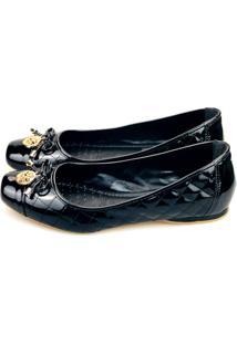 Sapatilha Love Shoes Bico Quadrado Laço Matelasse Verniz Preto