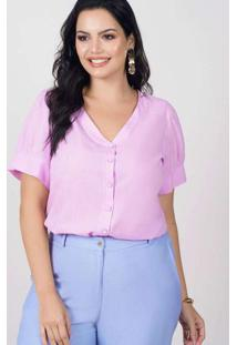 Blusa Ampla Almaria Plus Size New Umbi Botões Fron