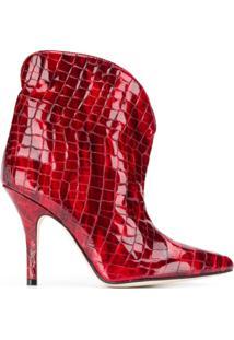 Paris Texas Ankle Boot Bico Fino Com Efeito Pele De Crocodilo - Vermelho