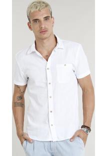 Camisa Masculina Com Bolso Em Linho Manga Curta Branca