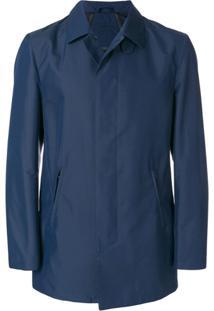 Corneliani Trench Coat Com Fechamento Oculto - Azul