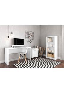 Conjunto Home Office Cb02 Com Escrivaninha, Armário Alto E Gaveteiro Para Pasta Suspensa Casa Da Mobília Branco