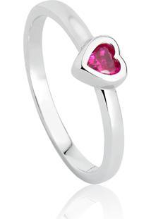 Anel De Prata 925 De Coração Com Pedra