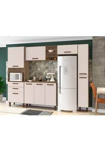 Cozinha Compacta Antonella 9 Pt 3 Gv Marrom Claro E Branca