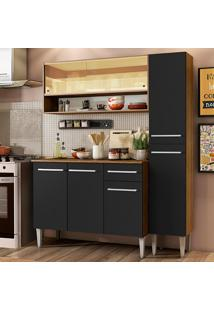 Cozinha Compacta Madesa Emilly Art Com Balcão E Armário Vidro Reflex - Rustic/Preto Marrom