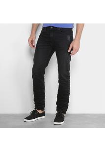 Calça Jeans Slim Calvin Klein Amassada Puídos Masculina - Masculino