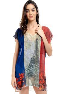 Blusa Estampada 101 Resort Wear Saida De Praia Tunica Decote V Crepe Fendas Francesa Vermelho