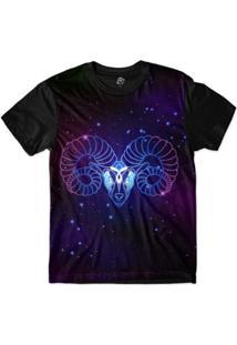 Camiseta Bsc Signos Ilustração Áries Sublimada Roxo - Masculino