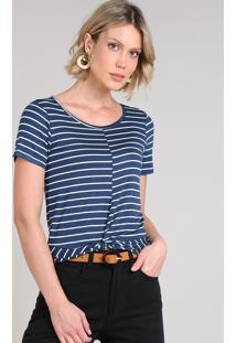 Blusa Feminina Listrada Com Nó Manga Curta Decote Redondo Azul Escuro