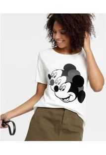 Blusa Estampa Mickey Manga Curta Disney Feminina - Feminino-Bege Claro