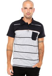 Camisa Polo Billabong Boweman Preta/Cinza/Laranja