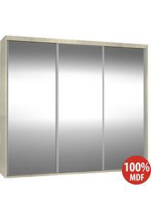 Guarda Roupa 3 Portas De Espelho 100% Mdf 1985E3 Marfim Areia - Foscarini