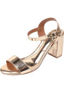 Sandália Romântica Calçados Salto Grosso Dourada - Kanui
