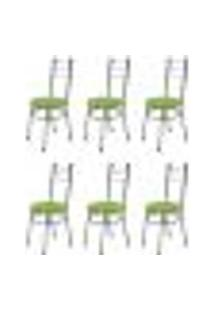 Kit 6 Cadeiras Baixas 0.236 Redonda Cromado/Verde - Marcheli