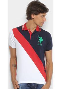 Camisa Polo U.S.Polo Assn Piquet Recorte Diagonal Frisos Bordado Masculina - Masculino-Marinho+Vermelho