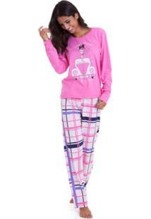 Pijama Inverno Feminino Em Algodão Luna Cuore - Feminino-Pink