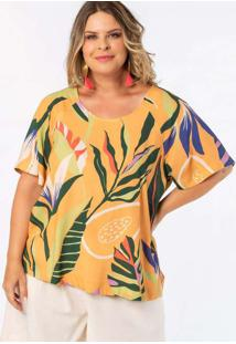 Blusa Almaria Plus Size Munny Estampada Amarelo