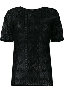 Saint Laurent Blusa Com Renda - Preto