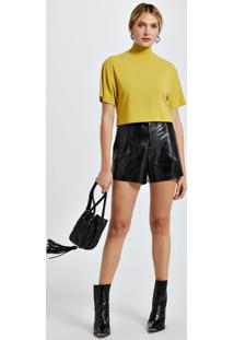 Blusa De Malha Texturizada Gola Alta Cropped Amarelo Yoko
