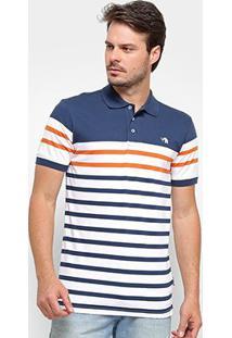 Camisa Polo Gajang Euro Dew Masculina - Masculino-Marinho+Branco