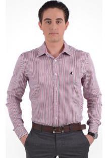 Camisa Social Listrada Masculina Slim - Masculino-Vermelho