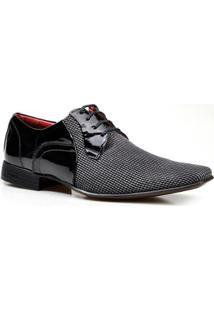 Sapato Social Calvest Fasano Verniz Com Tecido Masculino - Masculino-Preto