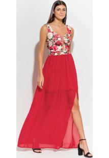 Vestido Longo Com Fenda Floral E Vermelho