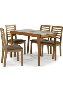 Conjunto Navagio Mesa Elastica Tampo Vidro Branco 4 Cadeiras Ripada Estofado Marrom - 59608 - Sun House