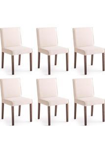 Conjunto Com 6 Cadeiras De Jantar Live Creme E Imbuia