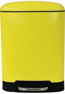 Lixeira Retangular Com Cesto Removível 6 Litros Amarela