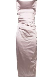 Talbot Runhof Draped Satin Dress - Rosa