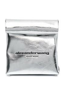 Alexander Wang Clutch Com Logo Gravado - Prateado