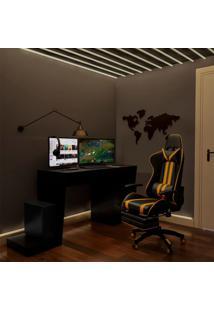 Conjunto De Mesa E Cadeira Gamer E Easy Preta E Amarelo