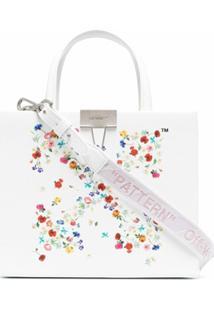 Off-White Bolsa Com Logo Off White Floral - Neutro