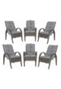 Cadeiras 6Un P/ Jardim Lazer Edicula Varanda Descanso Fibra E Tramas Napoli Plus Pedra Ferro A23