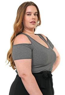 Blusa Lnd Lunender Mais Mulher Plus Off Shoulder Cinza
