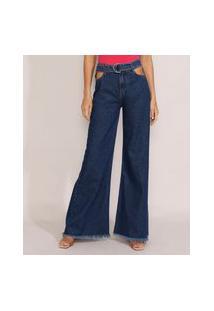 Calça Jeans Feminina Pantalona Cintura Super Alta Com Vazado E Cinto Azul Escuro