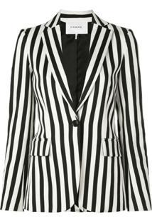Frame Striped Slim-Fit Blazer - Preto