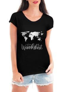 Camiseta Criativa Urbana Wanderlust Mapa - Feminino-Preto